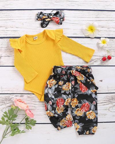 Toddler Floral Print Yellow Bodysuit, Skirt and Headband Suit