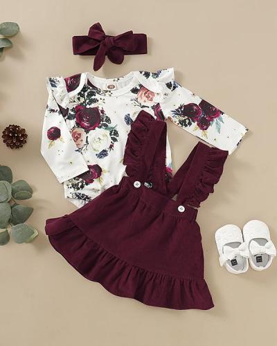 Toddler Floral Print Bodysuit, Suspender Skirt and Headband Set