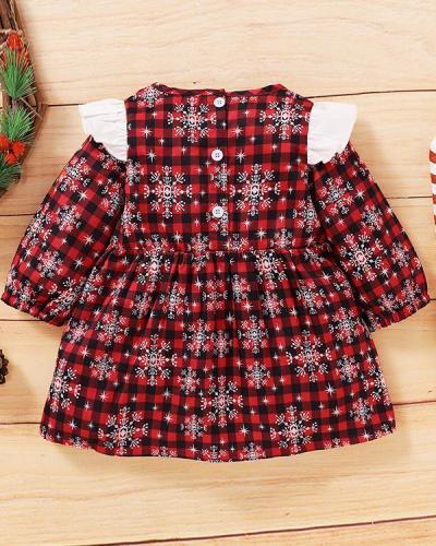 Girls Christmas Snowflake Bow Decor Long Sleeve Dress