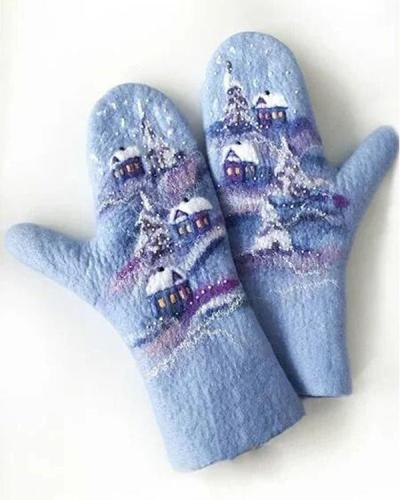 Wool Cotton Print Skiing Gloves