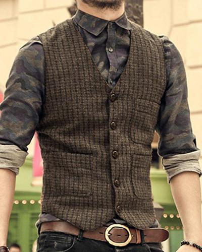 Fashion V Neck Single-Breasted Vest