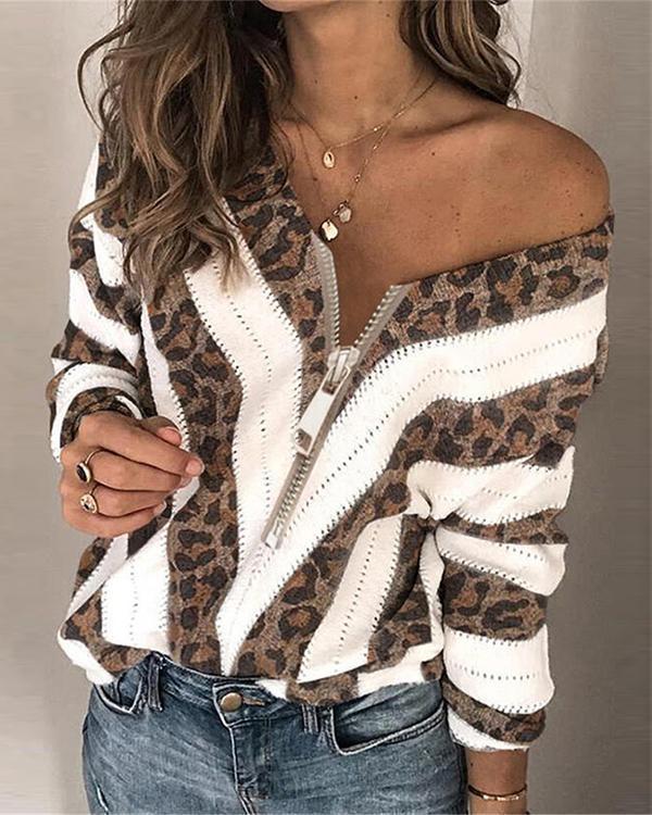 Round Neckline Leopard Casual Loose Regular Zipper Sweaters
