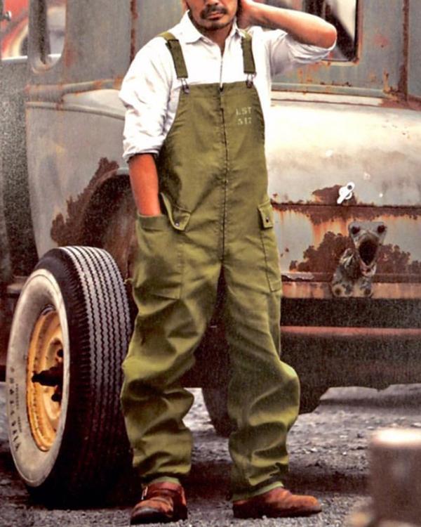 Mens Vintage Casual Solid Color Jumpsuit