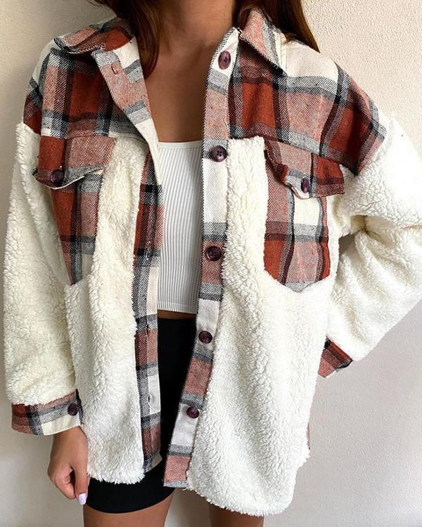 Casual Pocket Check Stitching Lambswool Jacket