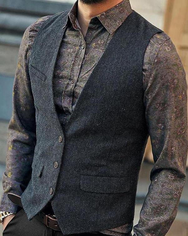 Men's Single-breasted Business Vest Jacket