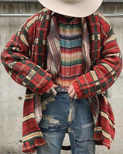 Men Cardigan Casual Winter Coat Male Sweater Check Knitted Tops Warm Cardigans