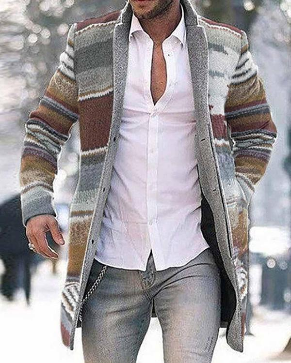 Men Fashion Business Rainbow Print Coat