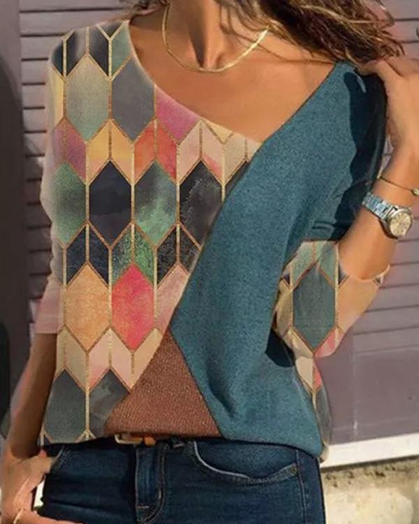 Color Block Contrast V-Neckline Long Sleeve Blouses