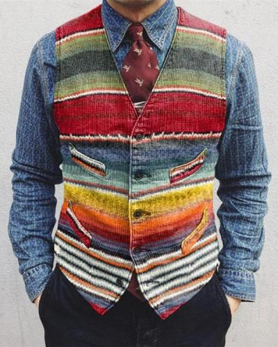 Casual Striped Colorblock Single-Breasted Men's Vest