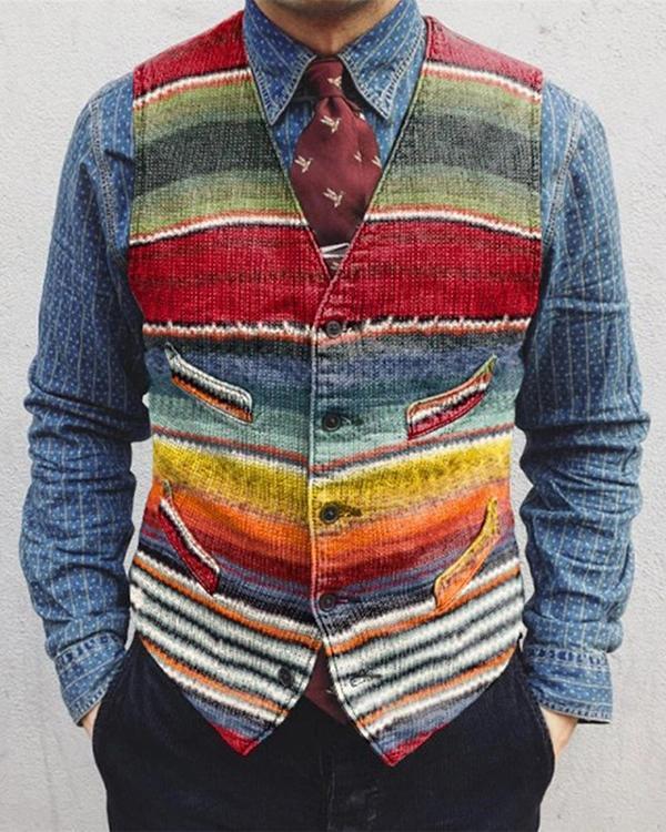 Casual Striped Colorblock Single-Breasted Men's Vest