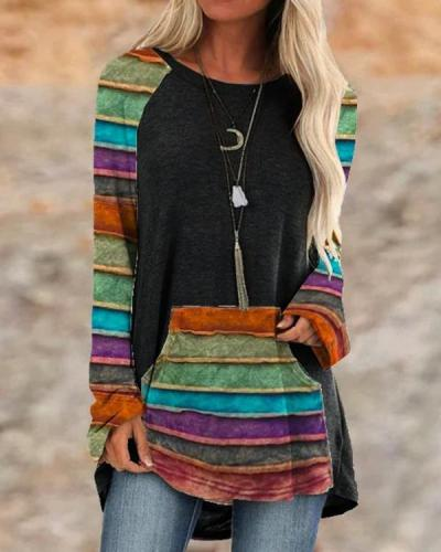 Color Block Cotton Casual Crew Neck Solid Shirts & Tops