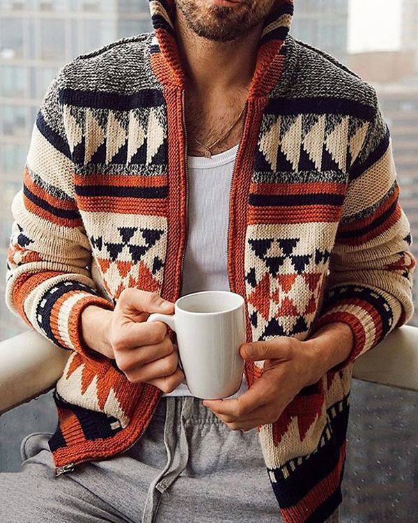 Autumn Casual Men Sweater Geometric Print Zipper Turtleneck Slim Cardigan