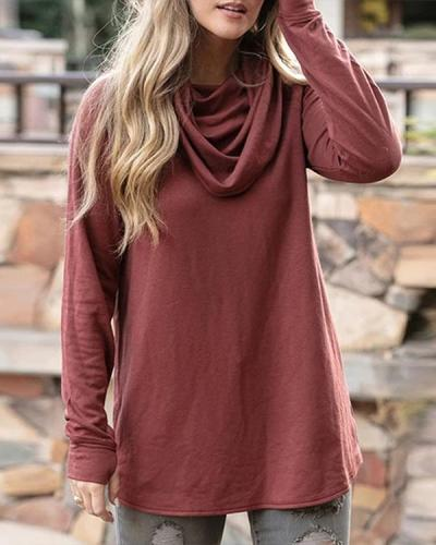 Solid Color Cowl Neck Tunic Tops