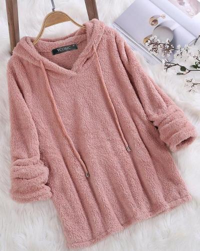 Fleece Hooded Solid Color Autumn Winter Long Sleeve Sweatshirts
