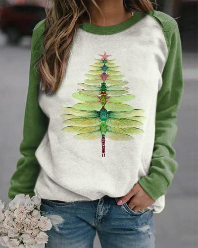 Dragonfly Christmas Tree Print Sweatshirt