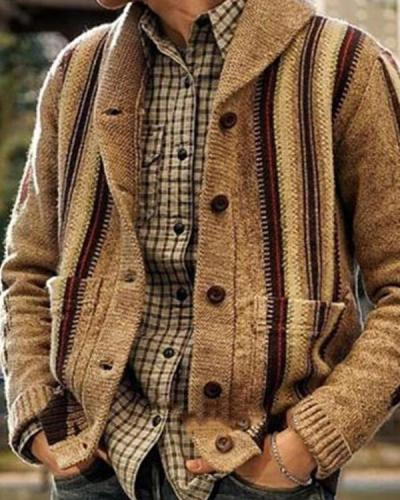 Fashionable Long Sleeve Jacquard Cardigan