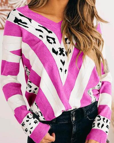 Women V-neck Striped Loose Color Block Sweater
