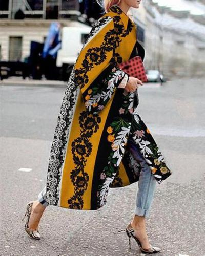 Women Vintage Floral Print Contrast Long Coat