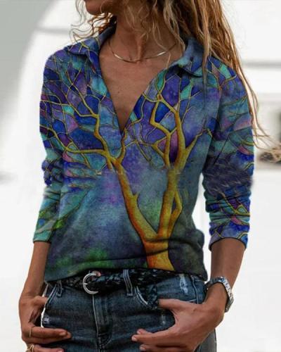 Long Sleeve Floral/AnimalPrint Blouses