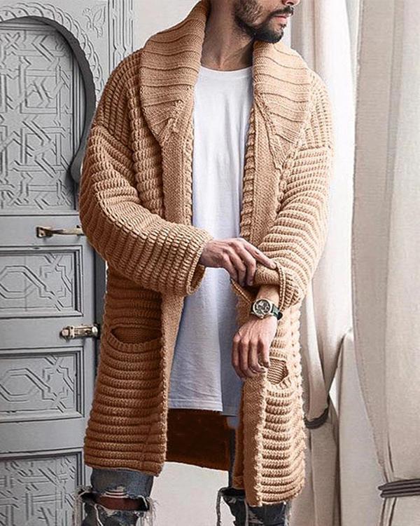 Mens Winter Shawl Collar Slim Fit Knitted Fashionable Cardigan