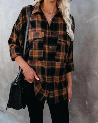 Turn-down Collar Checked Soft Shirt