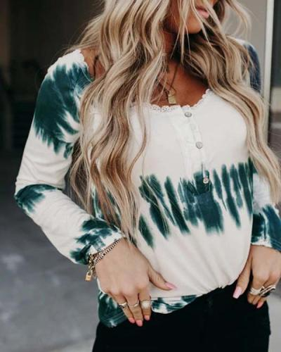 Women's Tie Dye Casual Long Sleeve Blouses