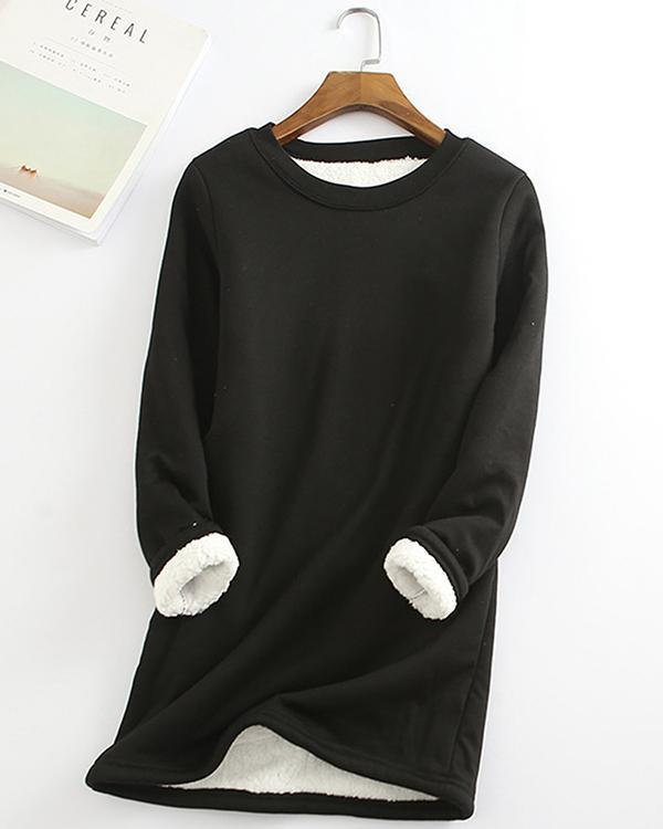 Casual Fleece Blend Round Neck Solid Long Sweatshirt
