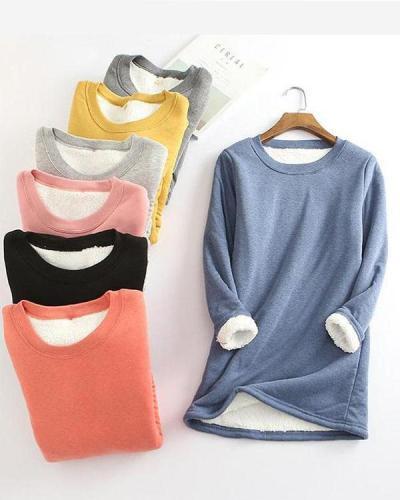 Casual Fleece Blend Round Neck Solid Long Sweatshirt