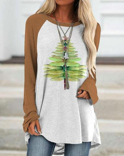 Women's Dragonfly Christmas Tree Print Long T-shirt