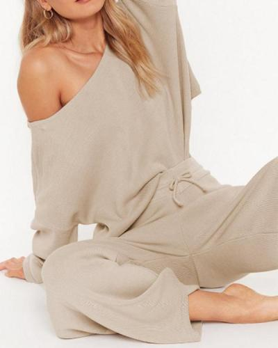 Solid Round Neck Off ShoulderSweater&Pants Set