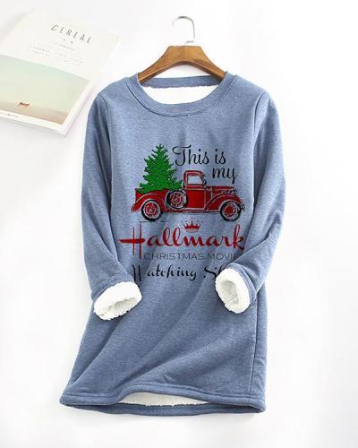 Fleece Warm Christmas Car Letter Printing Long-sleeved T-shirt
