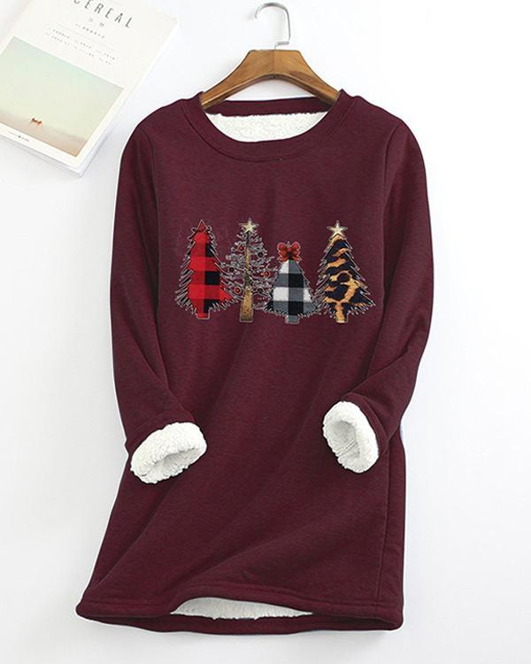 Christmas Tree Printed Sherpa Lined Fleece Pullover Sweatshirt