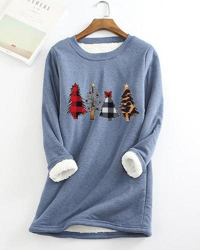 Christmas Tree Printed Sherpa Lined Fleece Pullover Sweatshirt