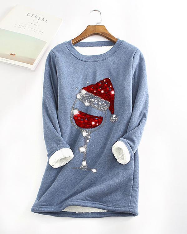 Fleece Warm Christmas Red Wine Glass Print Long Sleeve T-shirt