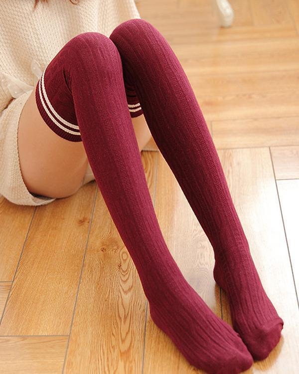 Twist Striped Cotton Over Knee Socks