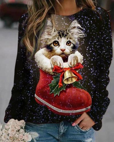 Christmas Bell&Cat Digital Printed Sweatshirt