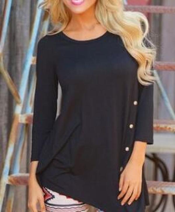 Women Fashion Button Kiss Long T-Shirt