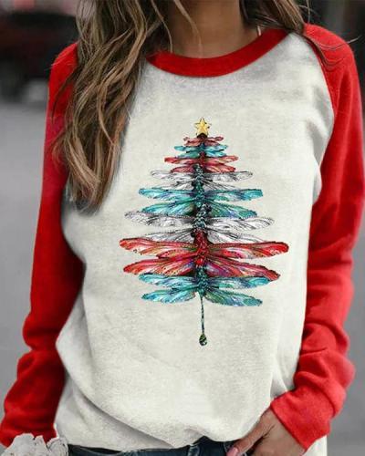 Color-block Lifelike Gradient Dragonfly Christmas Tree Print Raglan Sleeves T-shirt