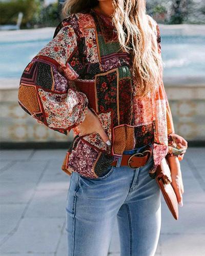 Women's Bohemian Print Casual Lantern Sleeve Blouses
