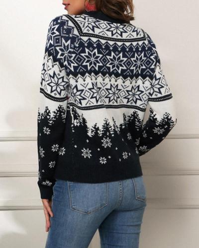Women's Christmas Snowflake Navy Sweater