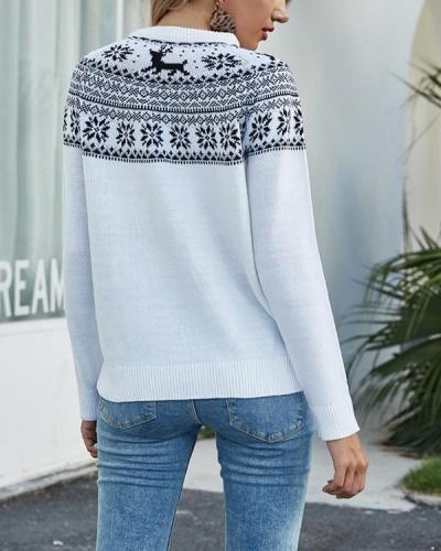 Women Christmas Snowflake Print Sweater