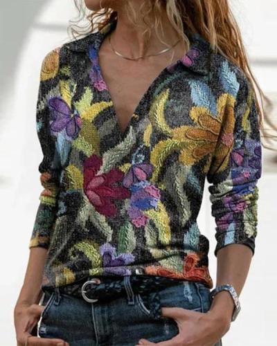 Casual Color-Block Cotton-Blend Shirt Collar Tops