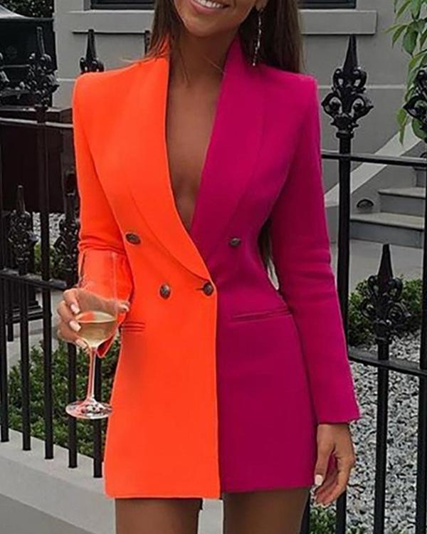 Colorblock Double Breasted Blazer Dress