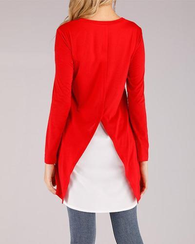 Women Printing Irregular Round Reck Long Sleeve Blouse
