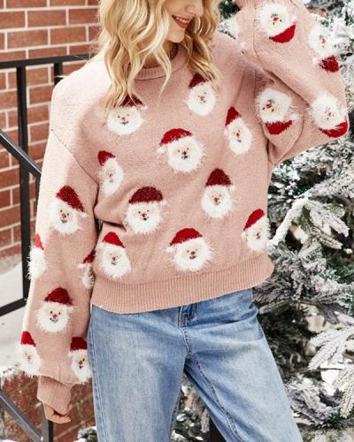 Women Santa Claus Pink Sweater