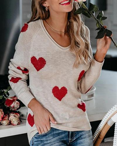 Women's Heart Print Sweater