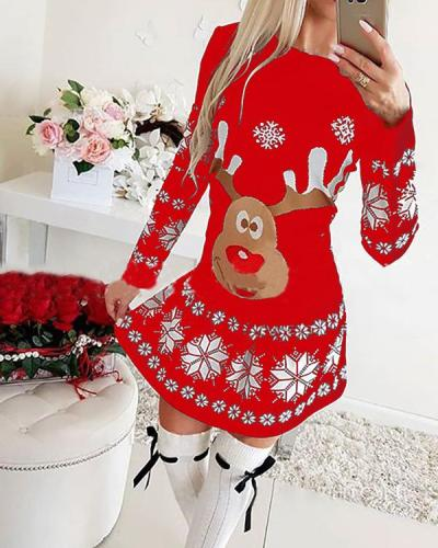 Women's Dress Christmas Moose Snowflake Print Long Sleeve Mini Dress