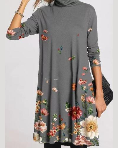 Casual Character/Flower Print Tunic Turtleneck A-line Dress