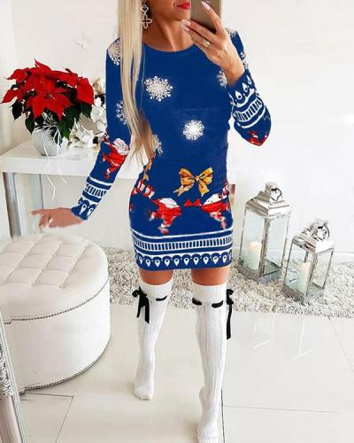 Print Long Sleeves Bodycon Above Knee Christmas Casual Dresses