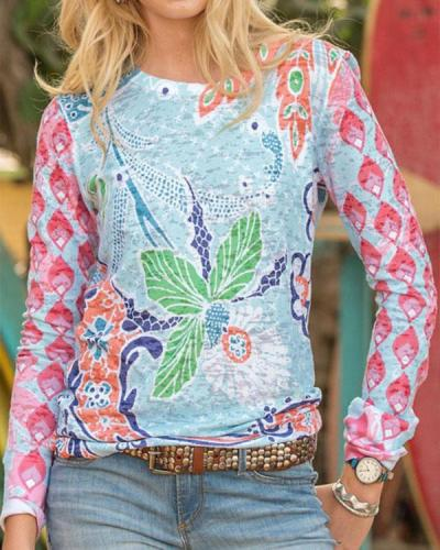 Abstract Floral Graphic Print Vintage Color-block T-shirt